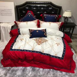 Lusso europeo palazzo 4 / 7pcs set biancheria da letto reale ricamo egiziano cotone queen size copripiumino biancheria da letto / lenzuola federe da
