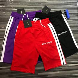 Palm anjos shorts mulheres homens 1: 1 de alta qualidade streetwear xadrez stripe palma anjos shorts estilo verão anjos da palma shorts y190422 de Fornecedores de fato de macacão azul