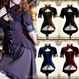 2020 ropa victoriana 2019 Steampunk Mujeres Moda de encaje de manga corta camiseta de las tapas del cordón encima de la camisa del Victorian del atractivo de la blusa Slim Fit medieval Ropa de calle rebajas ropa victoriana