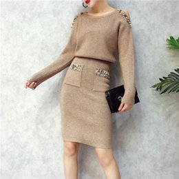 39d2b4d1567 2019 Sweater Dress Suit   Set Women Long Sleeve Casual khaki Pullover  Spring Autumn Knitted Dresses pearls pocket costume