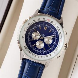2019 мужские наручные часы Топ бренд мужской роскоши механические часы 50мм синий циферблат синий часы кожа Многофункциональный stopwatchluxury смотреть бесплатно покупки скидка мужские наручные часы