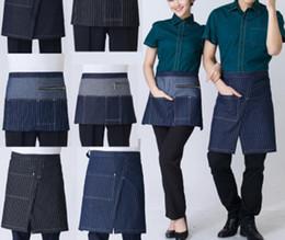 Calça jeans bib on-line-Demin Jeans Avental Cintura Curta para Mulheres homens café e cabeleireiro cozinhar avental Chefe bib
