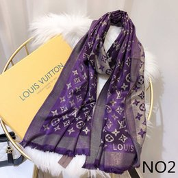 2019 bandiere promozionali New Fashion Designer Sciarpa di seta Vendita calda Donna Lusso Primavera Inverno Scialle Sciarpa Sciarpe di marca Dimensioni circa 180x70 cm 6 Colori con opzione scatola