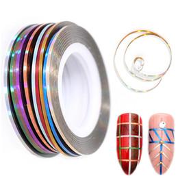 tipos de estilos de unhas Desconto 10 Rolls / Jogo colorido prego Etiqueta 3D Linha Fita Adesiva Glue Etiqueta Folha On Nails Manicure Design Tira Decoração Liner Set um milímetro Largura