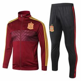 2020 se adequa ao espanhol Nova jaqueta 2018 terno de treinamento jaqueta de futebol de Espanha Top quality 18 19 jaquetas espanhol TRACKSUIT SPORTSWEAR frete grátis se adequa ao espanhol barato