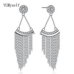 2019 pratos china coreia 92.5% de prata longo dangle brincos triângulo projeto jóias cadeia de jóias real brinco de prata esterlina para mulheres