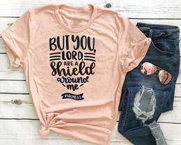 slogan Desconto Mas você senhor é um escudo em torno de mim t shirt slogan mulheres moda grunge tumblr festa Hipster cristão baptismo grunge tumblr tee