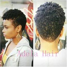 echte indische haarperücken frauen Rabatt Pixie Cut Perücken Machine Made Hair Natural Black Echt Remy 100 Indische Echthaar Perücke Afro Verworrene Lockige Kurze Afro Perücken für Schwarze Frauen