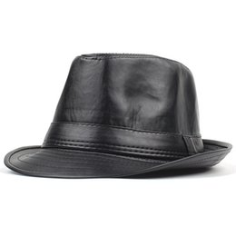 e015238f82320 Sombreros de cuero de la PU Vintage Jazz Cap Cowboy Gentleman Bowler Short  Floppy Trilby Panamá Sombrero Hip Hop Negro Cap Hombres Mujeres D19011102  cheap ...
