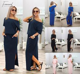 Vestidos maxi abertos on-line-Nova 2019 Verão Vestido Maxi Vestido Robe Casual Sexy solto Side elegante Abrir BODYCON Vestidos Vestido Pockets Mulheres Vestidos Vestido de Festa