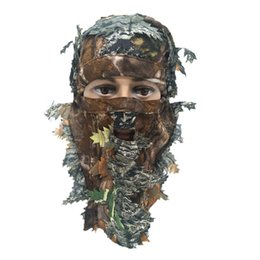 Mascara de camuflaje de caza online-Máscara 3D Unisex Multifuncional Leaf Blind Camping Hunting Bionic Camouflage Headgear mask