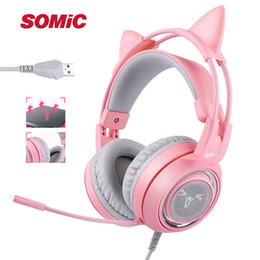 Kopfhörer 7.1 vibration online-SOMIC G951 Pink Cat Kopfhörer Virtual 7.1 Noise Cancelling Gaming Kopfhörer Vibration LED USB Headset Mädchen Headsets für PC