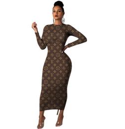 Макси платья платья фирменные онлайн-Multi-стиль бренда дизайн письмо печати Макси платья сексуальные O-образным вырезом с длинными рукавами Bodycon платье платья партии женщин способа вскользь платья