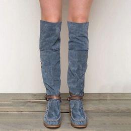 botas sobre la rodilla slim fit Rebajas Señoras de la borla de punta redonda bajo el talón del cuero del ante sobre la rodilla Niza nuevo de las mujeres adelgazan Fringe Boots Pop