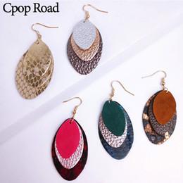brincos de ovelha Desconto CPOP Leopard Sheep Genuine Feather couro do couro Brincos nova declaração Três camadas Brinco de mulheres Fashion Jewelry Acessórios