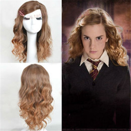 Peluca cos online-Nueva peluca de Anime de Halloween gradiente largo y rizado Cos Harry Potter Hermione Granger Anime Cosplay Dress Up suministros venta al por mayor envío gratuito