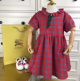 2019 beiläufiges kleid chiffon- gewebe Mädchen kleid kinder designer kleidung baumwolle und leinen lose puppe drucken kleid mode gitter casual kleid größe 110-160 cm rabatt beiläufiges kleid chiffon- gewebe
