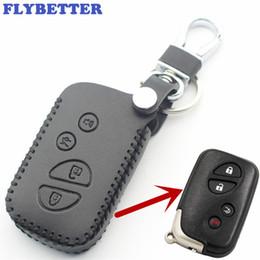 Argentina FLYBETTER Cubierta de la caja de la llave inteligente de cuero genuino 4Button para Lexus LX470 / GS450h / IS350 / SC430 / LS460 / ES350 / GS350 Car Styling L37 cheap lexus smart key Suministro