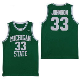 basketball black shirts Coupons - NCAA Michigan State Spartans #33 Earvin Johnson Magic LA Green White College 33 Larry Bird High School Basketball Jersey Stitched Shirts