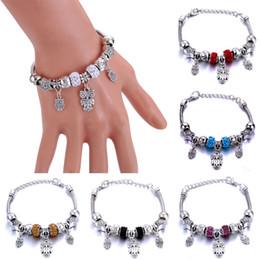 herzförmige glasperlen Rabatt Antike ursprüngliche herzförmige Eulen-Charme-Armbänder für Frauen-Glasperlen-Marken-Armband-Armband-DIY Schmucksache-Geschenke