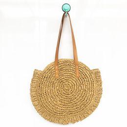 Bolso de tejido de hierba Estilo clásico Para Mujeres Bolsas de almacenamiento de playa Bolsa de compras de viaje de fibra de poliéster de alta capacidad de moda 23yh ZZ desde fabricantes