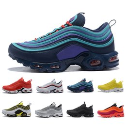 Billige laufschuhe online-NIKE AIR MAX 97 plus TN Cheap New Mens Plus Designer Shoes Chaussures Homme Plus Women Sport Trainers Zapatiallas Hombre Tns Airs Cushion Run Shoe