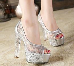 Canada Femmes ouvert toe évider sandales maille paillettes Bling plate-forme pompes pompes bloc bloc talons hauts chaussures chaussures 4 couleurs 14cm A266 cheap block heels Offre