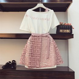 long neck pieces t shirt Promo Codes - 2018 Spring Summer Women Fashion 2 Piece Suit Slash Collar Off Shoulder Long T Shirt & Hollow Out Lace Skirt Suits Skirts Set