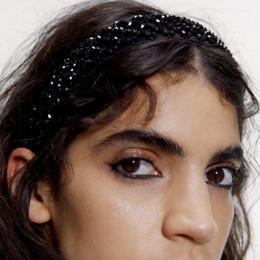 vintage schwarze silk kleid Rabatt Punk Black Crystal Perlen Breite Stirnbänder Chic Silk Haarband für Frauen Art-Weinlese-Stirnband Mode Bezel-Partei-Kleid