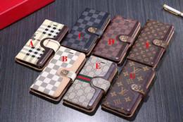Billetera de protección online-Diseñador de lujo Funda con tapa para teléfono Funda de cuero para iphone X XS Max XR Funda con ranura para tarjeta Protección de cordón Funda de Shell para iPhone 8 8plus