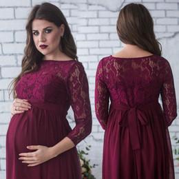 roupa de algodão de linho de maternidade Desconto das mulheres grávidas Fotografia Lace vestido de maternidade Maxi Vestido Foto Roupa de pulso Sleeve Lace Floral Sashes vestido longo