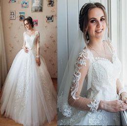Великолепный этаж линии онлайн-2019 великолепные A-Line Свадебные платья опухшие тюль длина пола vestidos де Novia 3d аппликация зашнуровать долго на заказ Bridal свадебные платья