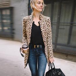 Chaleco leopardo online-Moda para mujer Dama Moda Chaleco largo Ropa de abrigo fresca Abrigo de manga larga Traje Leopardo Tallas grandes Tops