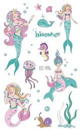 Calcomanías sexy tatoo online-Impermeable para niños Tatoo Fake Tattoo Sticker Sexy Mermaid Temporary Flash Tatto Tatouage Temporaire Mano Brazo de pie para niña niños