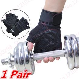 2019 guantes de apoyo para los dedos Mitad dedos Dumbbell Guantes Guantes de levantamiento de pesas Fit Fitness Sport Gym Palms Soporte de mano Anti Skid Palms Protector de mano guantes de apoyo para los dedos baratos