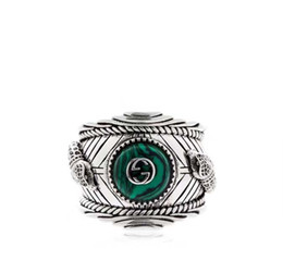malachite jewelry Coupons - Hot sale S925 pure silver ring with nature malachite and leopard head design for women and man wedding jewelry gift PS5552