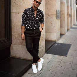 2019 camisas formais cor de rosa dos homens KLV 2019 homens camisa do streetwear da forma solta casuais de manga comprida Polka Dot Impresso Top Blusa frete grátis D4 dos homens