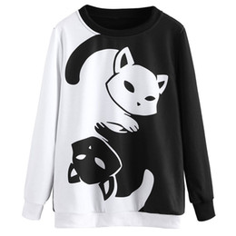 cat print jumper Promo Codes - Women Spring Fashion Hoodies Pullover Sweatshirt Cat Hoodies Black White Color Patchwork Sweatshirt Harajuku Female Jumper