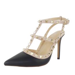 Chaussures à talons eu34 en Ligne-ZKshoes 2015 nouvelle mode femmes sandales à talons hauts avec des rivets chaussures grande taille EU34--45