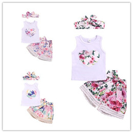fasce per feste per neonati Sconti Sweet Kids Baby girl vestiti Floral Summer Set Beach Holiday Tank Top + Bowknot Lace shorts floreali + Fascia 3pcs abiti 6M-4Y all'ingrosso 2019