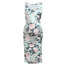Einfache mode frauen schwangere mutterschaft dress casual sleeveless blume mutterschaft dress kleidung vestido embarazada 2019 von Fabrikanten