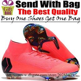 Botas de fútbol para hombre originales Nuevo Mercurial Superfly VI FG ACC Zapatos de fútbol Rosa Negro Zapatillas de deporte para exterior Zapatillas de fútbol de tobillo alto 6.5-12 desde fabricantes
