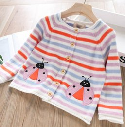 Kızlar hırka çocuklar gökkuşağı şerit örme kazak giyim çocuk karikatür böcekleri nakış hırka sonbahar çocuk giysileri F8461 nereden