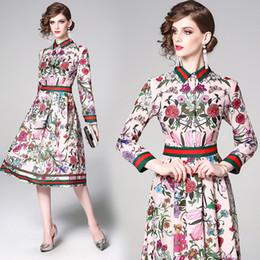 2019 Primavera Estate Autunno Runway Luxury Floral Print Collar Manica lunga Impero Vita Donna Donna Casual Party A-Line Midi Dress da