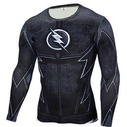 Asciugatrice flash t shirt online-Stampa 3D, GYM popolare, ad alta resistenza, aderente, Flash uomo Sudore-sudorazione, asciugatura rapida Uomo-Sport e Fitness T-shirt a maniche lunghe