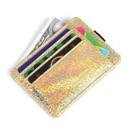 Блистерные ленты онлайн-Glitter Card Кошелек Передний Карманный Резинка Мини Кошелек Карточка Органайзер для девочек PU Кожаный Кошелек