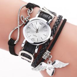 Moda mujeres pequeñas señoras amor ángel ala pulsera relojes dama mujer vestido cuarzo pulsera cuero relojes tejido DIY reloj de pulsera desde fabricantes