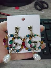 2019 diamante opale nero Lettere di moda europee G Orecchini in argento placcato in oro con borchie a doppio G Earddrop per gioielli donna ragazza partito