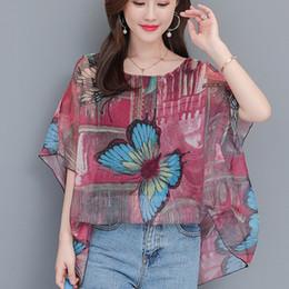 341113615f korean stylish tops Promo Codes - 2019 Women s Blouse bluzki Fashionable  Korean Printing Chiffon Bat Sleeve
