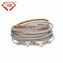 Círculos do ímã on-line-Pulseira pérola ímã fivela senhora pulseira dupla círculo multi-storey pulseira de couro y19070902